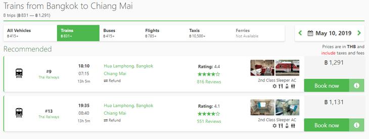 Bangkok to Chiang Mai train booking online