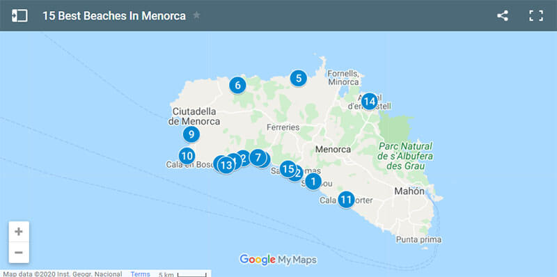 Best beaches in Menorca Map