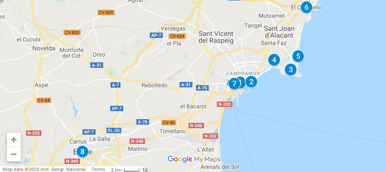 Where to Stay in Alicante  Spain Map