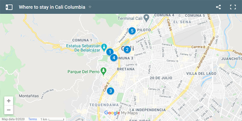 Where to Stay in Cali Colombia map