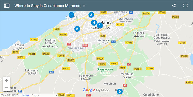 Where to Stay in Casablanca Morocco Map