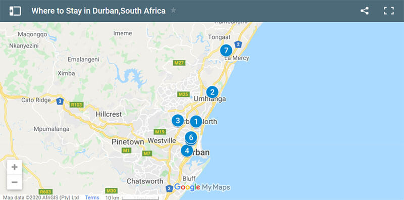 Where to Stay in Durban Map