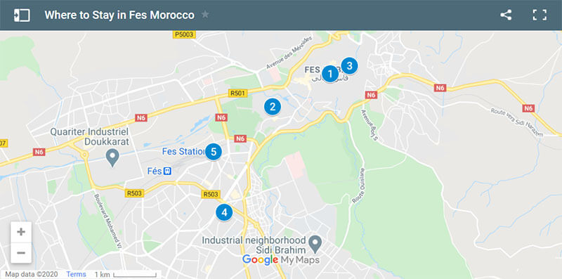 Where to Stay in Fes Morocco Map