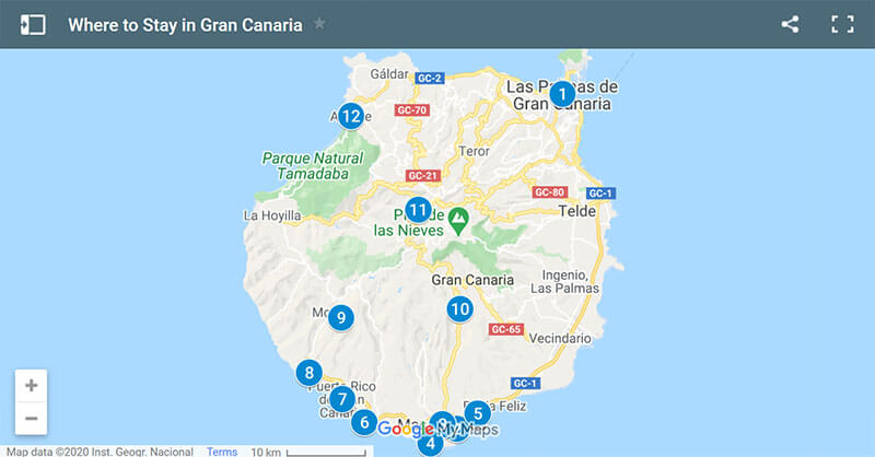 Where to Stay in Gran Canaria Map