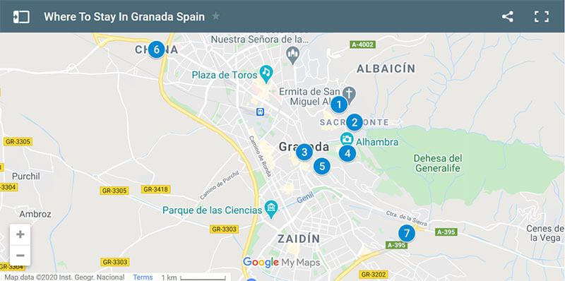 Where to Stay in Granada Map