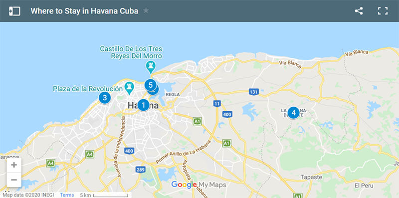Where to Stay in Havana Map
