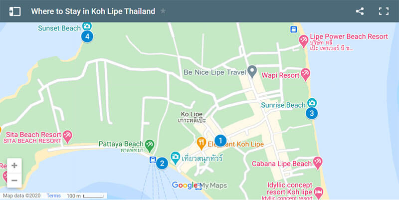 Where to Stay in Koh Lipe Map