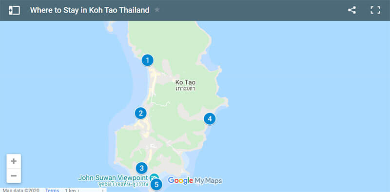 Where to Stay in Koh Tao Thailand Map