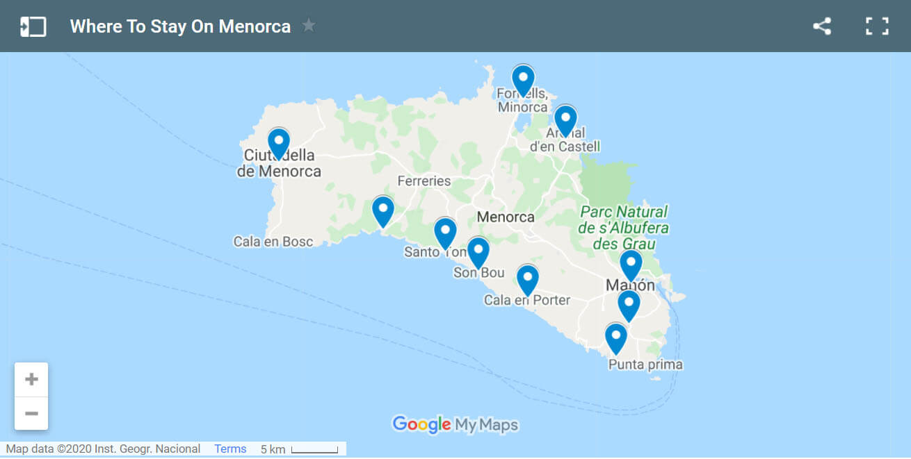 Where to Stay in Menorca Map