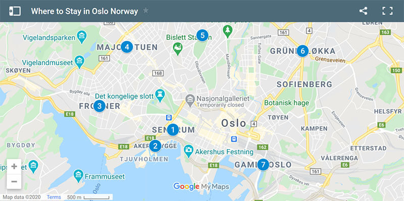 Where to Stay in Oslo Map