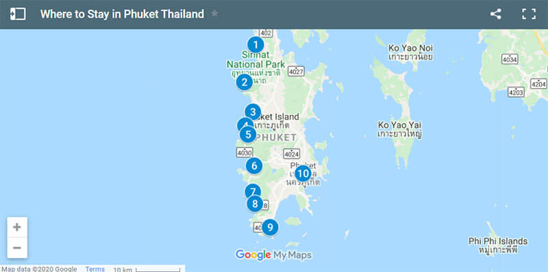 Where to Stay in Phuket Map