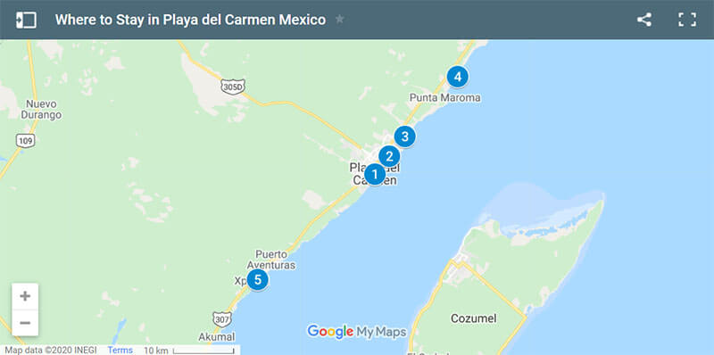 Where to Stay in Playa del Carmen map
