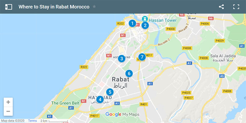 Where to Stay in Rabat Morocco Map