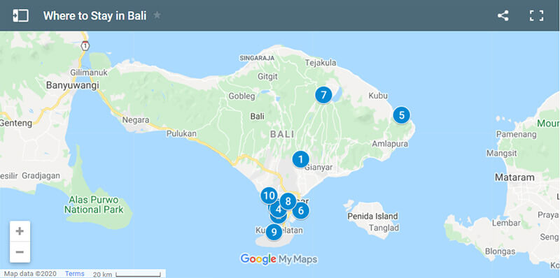 Where to Stay in Bali Map