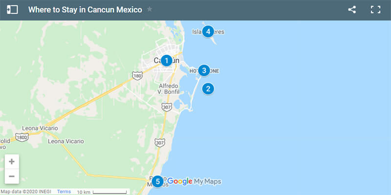 Where to Stay in Cancun Map