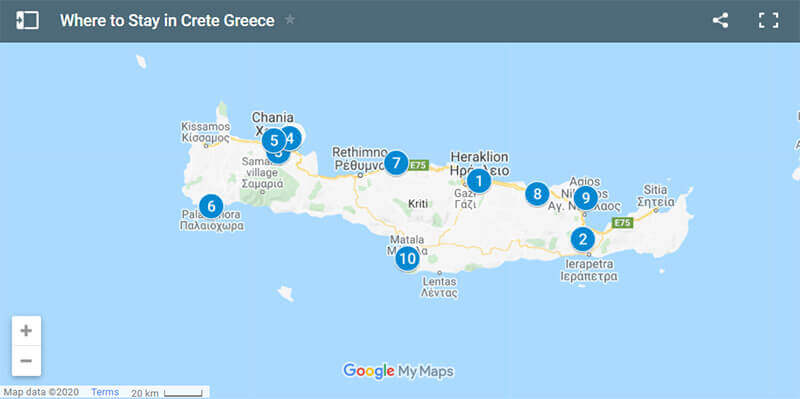 Where to Stay in Crete Greece Map