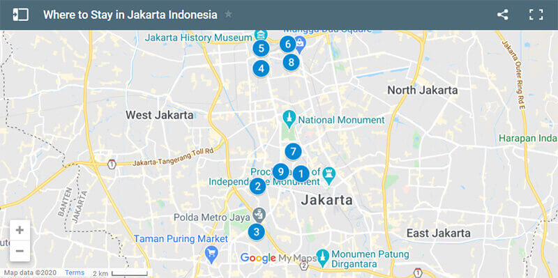 Where to Stay in Jakarta Indonesia Map