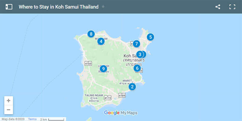 where to stay in Koh Samui Map