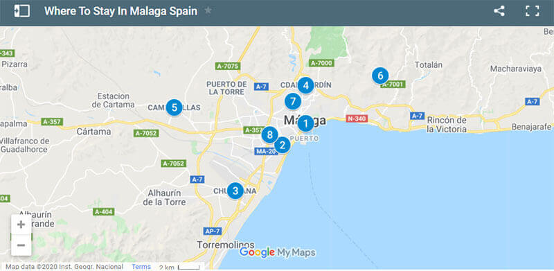 Where To Stay In Malaga Map
