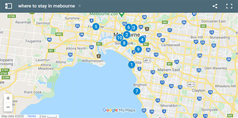 Where to Stay in Melbourne Map