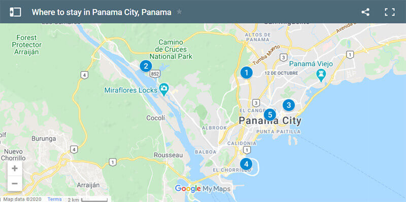 Where to stay in Panama City, Panama Map