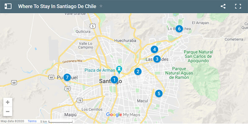 Where To Stay In Santiago De Chile Map