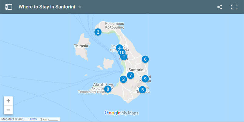 Where to Stay in Santorini Map