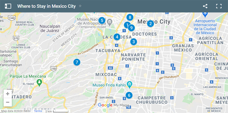 Where to Stay in Mexico City Map
