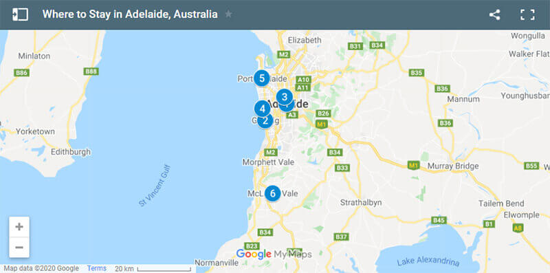 Where to Stay in Adelaide Map