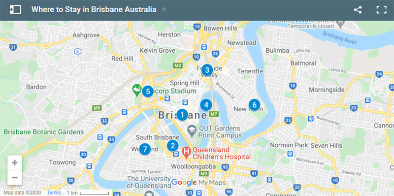 Where to Stay in Brisbane map