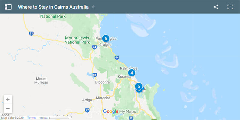 Where to Stay in Cairns Map