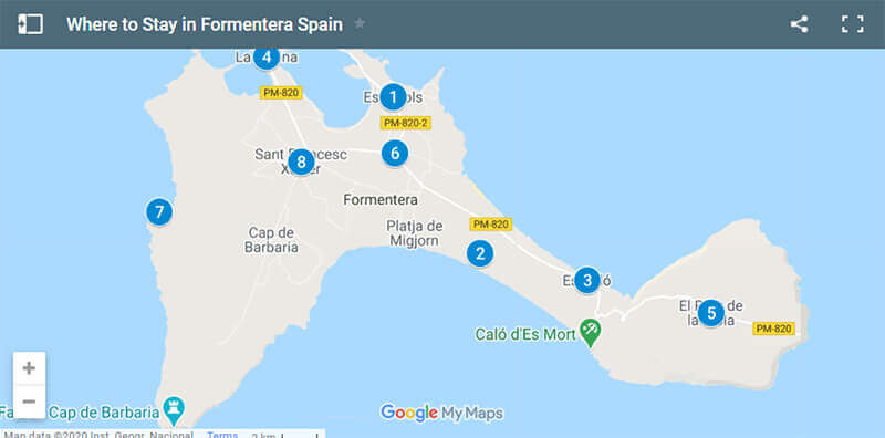 Where to Stay in Formentera Map