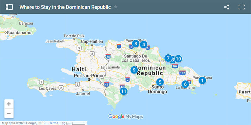 Where to Stay in the Dominican Republic Map