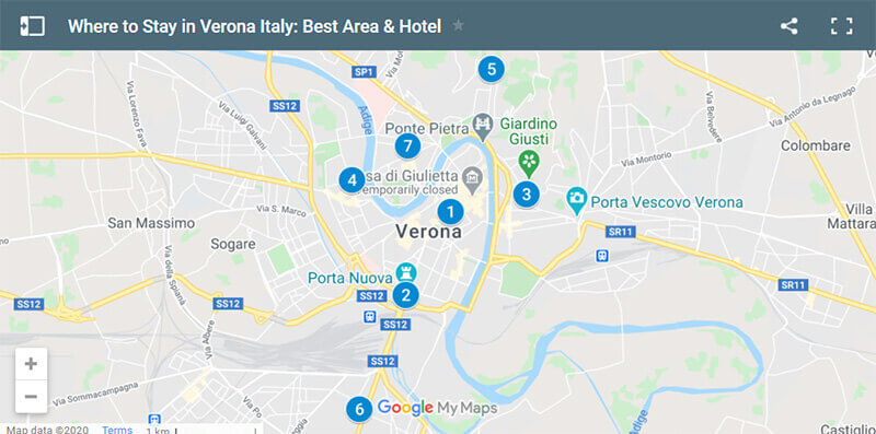 Where to Stay in Verona Italy Map