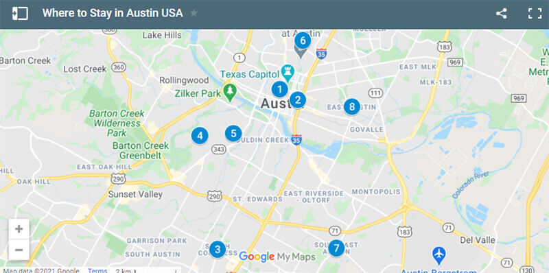 Where to Stay in Austin Map