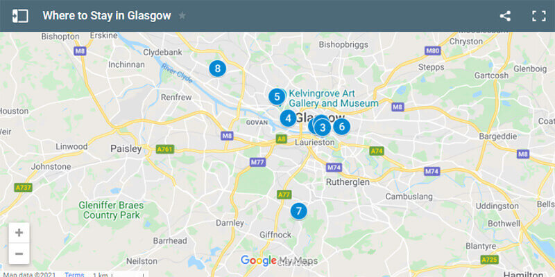 Where to Stay in Glasgow Map