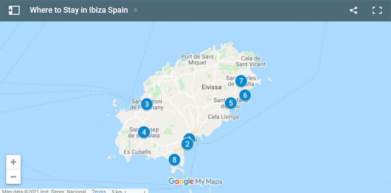 Where to Stay in Ibiza Spain Map
