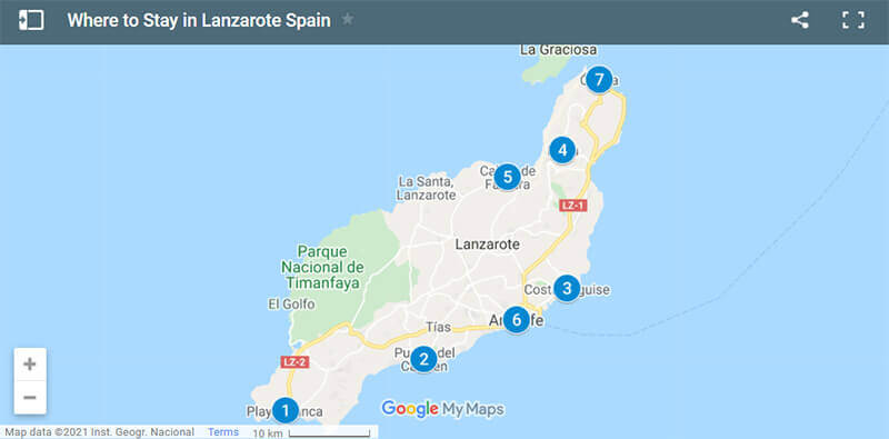 Where to Stay in Lanzarote Map