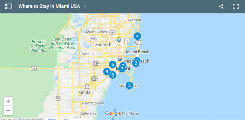 Where to Stay in Miami USA map
