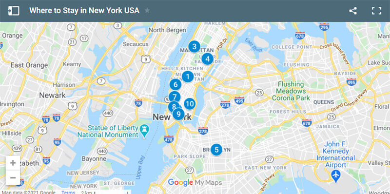 Where to Stay in New York Map