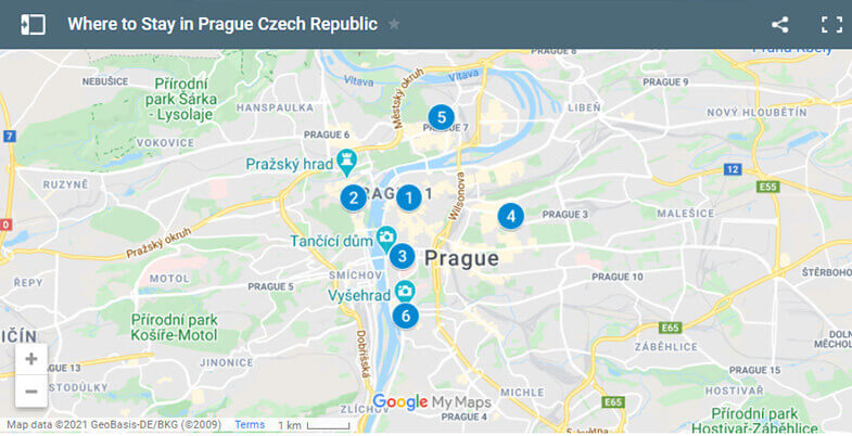 Where to Stay in Prague Map