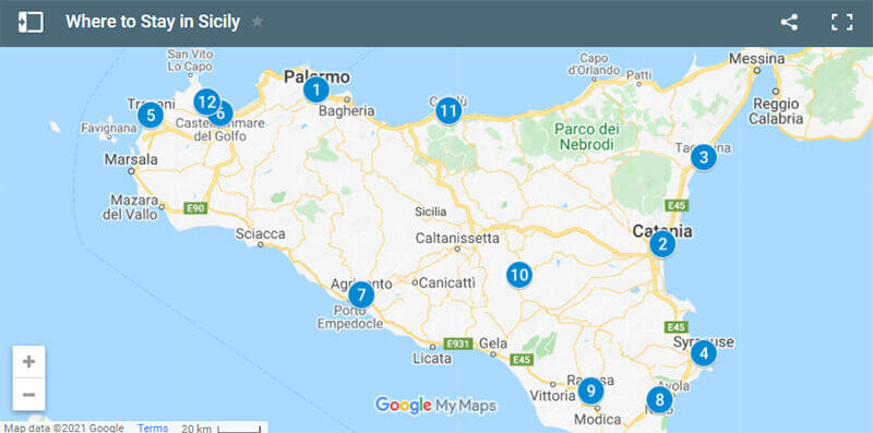 Where to Stay in Sicily Italy map