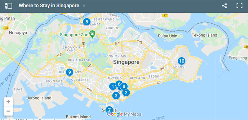 Where to Stay in Singapore Map