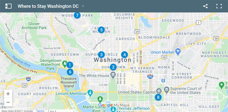 Where to Stay in Washington DC map