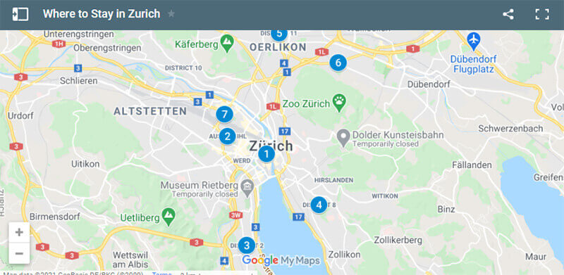 Where to Stay in Zurich Map