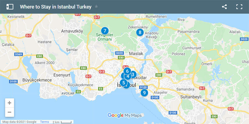 Where to Stay in Istanbul Map
