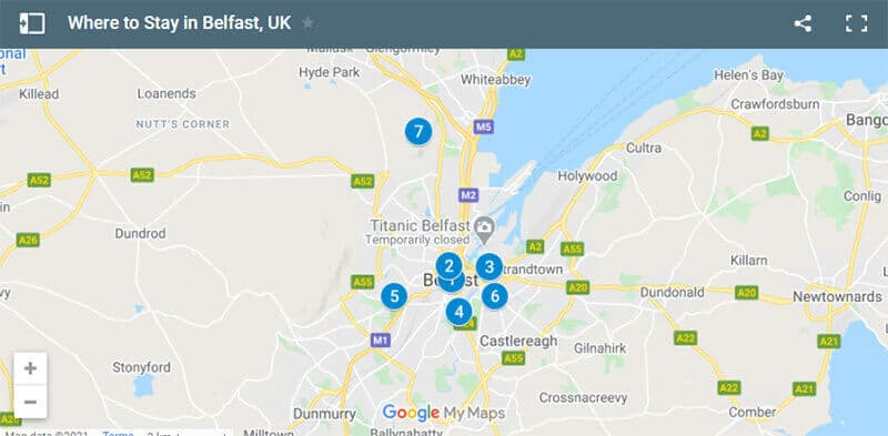 Where to Stay in Belfast Map