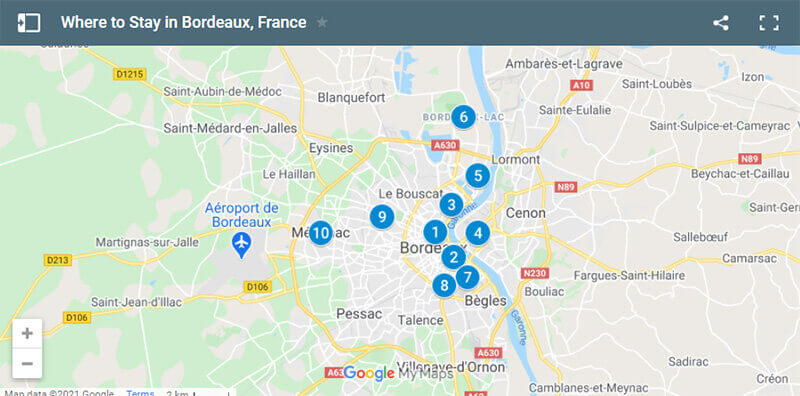 Where to Stay in Bordeaux Map