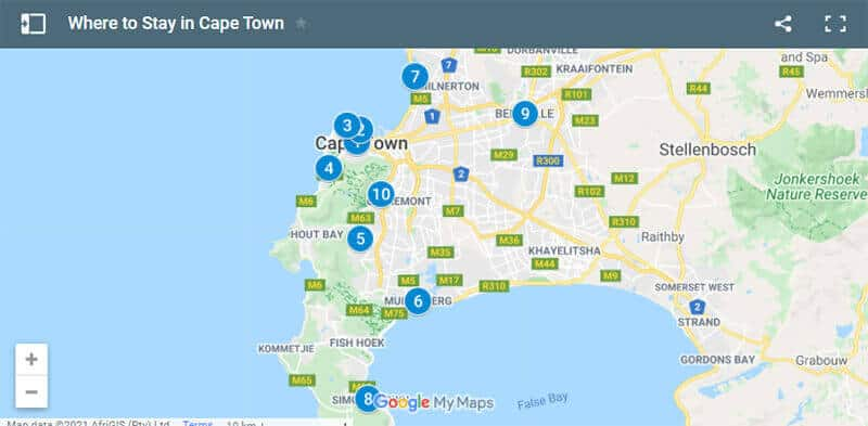 Where to Stay in Cape Town Map
