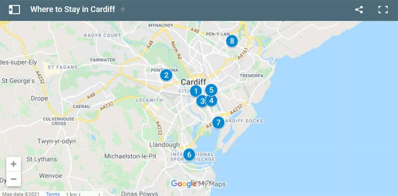 Where to Stay in Cardiff Map